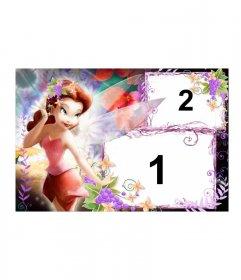 Marco de fotos de hada pelirroja vestida en tonos pastel, con fondo adornado con motivos florales, donde podemos incluir dos fotos, una grande y otra pequeña