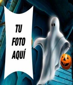 Marco para fotos de Halloween con un fantasma