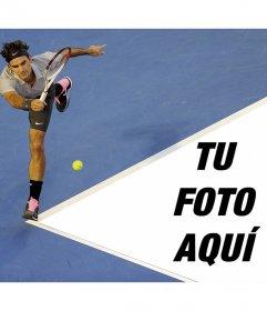 Fotomontaje con Roger Federer y tu foto en la pista de tenis
