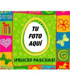 Postal colorida para felicitar la Pascua con tu foto
