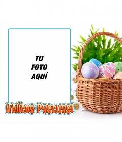 Marco para fotos con una imagen de huevos de Pascua con texto