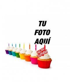 Felicitación de cumple con cupcakes de colores