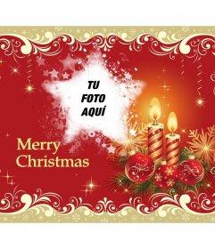 Felicitación Merry Christmas y tu foto con forma de estrella