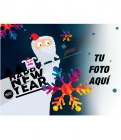 Fotomontaje con un dibujo de para felicitar el año nuevo