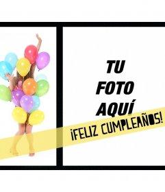 Tarjeta de cumpleaños con una chica cubierta de globos y un marco cuadrado en el que colocar una imagen del que cumple años