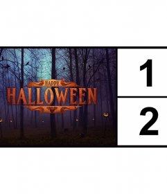 Fotomontaje para dos fotos con el texto Happy Halloween