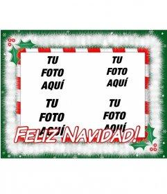 Postal de Navidad para poner 4 fotos con el texto: FELIZ NAVIDAD