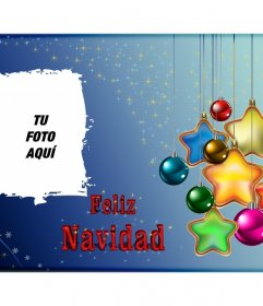 Postal de Feliz Navidad con unas estrellas y tu foto