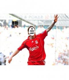 Fotomontaje para poner tu cara en Fernando Torres, con la camiseta del Liverpool