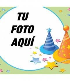 Fotomontaje con sombreros de fiestas y muchas estrellas para celebrar