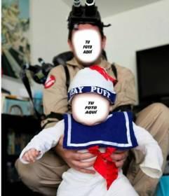 Fotomontaje donde tú y tu bebé os podéis convertir en personajes de la película *Los cazafantasmas* de manera fácil y gratuita