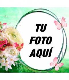 Flores y mariposas sobre un fondo de brisa primaveral para poner tu foto en un marco circular