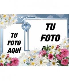 Fotomontaje para poner dos fotos hecho con flores y un corazón