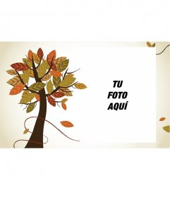 Marco para fotos de otoño con un árbol y fondo blanco