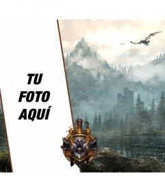 Fondo para poner tu foto con un dragón y unas montañas