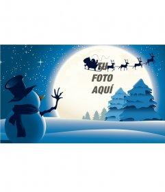 Postal de navidad con un muñeco de nieve saludando a Papá Noel