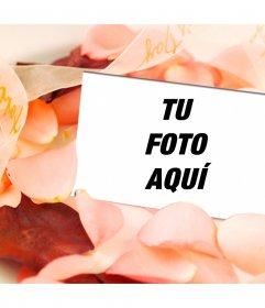 Montaje de amor para poner una foto dentro de una postal en medio de pétalos de rosa. Muy romántico