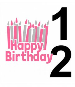 Postal para editar con dos fotos y añadir la frase HAPPY BIRTHDAY con muchas velas
