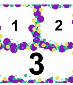 Collage con círculos de colores para personalizar con tres fotos
