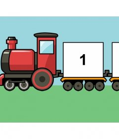 Collage de un tren infantil para añadir tres fotos gratis