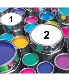 Montaje divertido para añadir tres fotos dentro de un latas de pintura