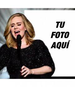 Fotomontaje editable con Adele cantando para subir tu foto