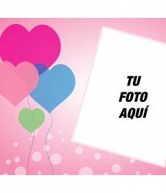 Tarjeta de amor con globos de corazones donde puedes añadir tu foto