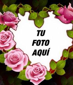 Bello marco de un corazón con rosas perfecto para tu foto