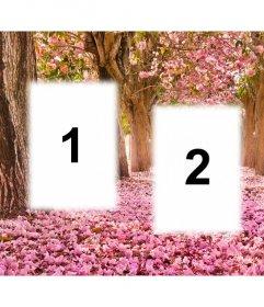 Collage gratis para editar con tres fotos y añadirlas a un paisaje floreado