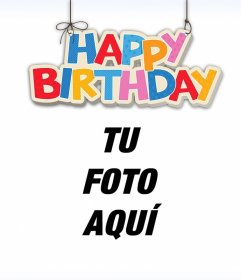 Happy Birthday colgante para decorar tus imágenes