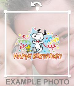 Sticker con Snoopy y el texto Happy Birthday para celebrar con tus fotos
