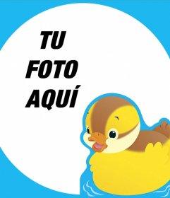 Marco editable con un patito amarillo perfecto para fotos de bebés
