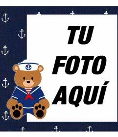 Marco con un Osito marinero para subir una foto y decorarla