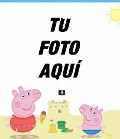 Edita este marco para foto de Peppa Pig y George en la playa