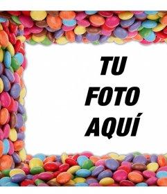 Rodea tus fotos con coloridos dulces editando este montaje gratis