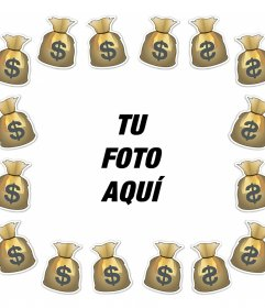 Foto efecto para añadir un marco con bolsas de dinero a tu foto