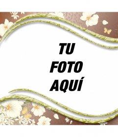 Hermoso marco para tus fotos con flores blancas decorativas