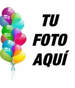 Postal editable para celebrar con globos y subir tu foto