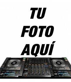 Fotomontaje para poner tu foto con una mesa de mezcla de DJ