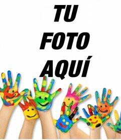 Fotomontaje de manos con pintura para subir una foto