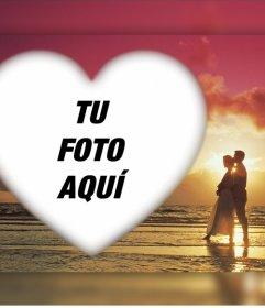 Romántico efecto para subir tu foto con una pareja en un atardecer