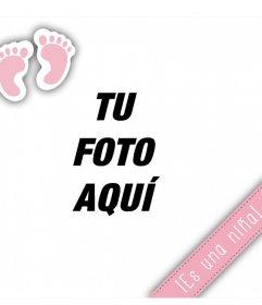 Fotomontaje editable para hacer saber que ha nacido una niña