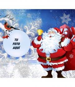 Foto efecto con Santa Claus y unos pajaritos