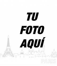 Foto efecto editable con tu foto para añadirle la silueta de Paris