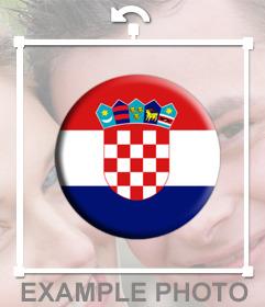 Botón con la Bandera de Croacia para añadir a tus fotos como un sticker