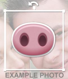 Nariz de cerdo para pegar en tus imágenes subiéndolas a este efecto online