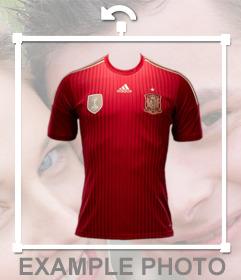 Foto efecto de la camisa de la selección de España para tus fotos
