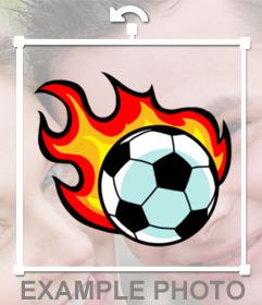 Balón de fútbol con fuego para pegar en tus fotos como un sticker online