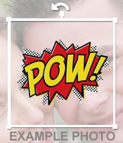 Sticker de explosión de caricatura con la expresión POW! para pegar en tus fotos