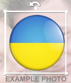 Bandera de Ucrania en forma de botón para pegar y decorar tus fotos